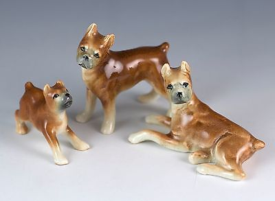 Vintage Ceramic Miniature Set of 3 Family Boxer Dog Figurines Glossy