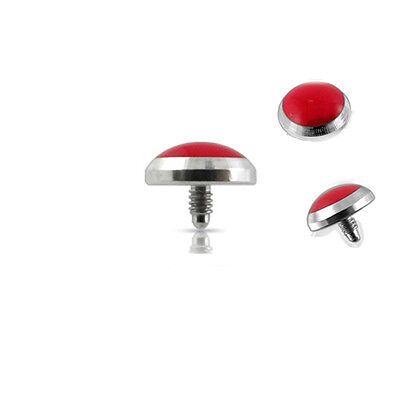 PIERCING Aufsatz für Dermal Anchor Anker Rote Platte 1,2x5mm Surface Piercing