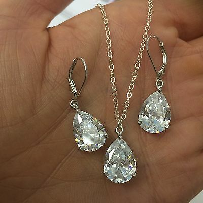Designer Sterling Silver Aa Cubic Zirconia Bridal Jewelry Set Handmade Prom Gift