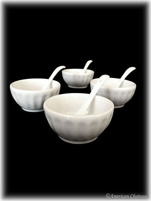 Set of 4 White Porcelain Small Appetizer Canape Tasting Bowls With Spoons