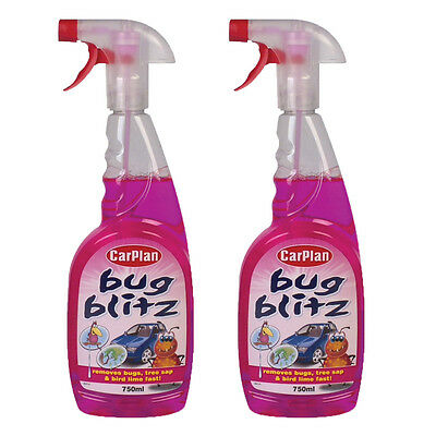 2 x Carplan Bug Blitz Bug Tree Sap Bird Lime Car Paintwork Stain Remover 750ml