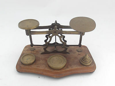 Antique Brass Postal Letter Scales Complete With Weights