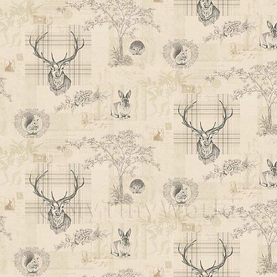 Dolls House Miniature Beige And Black Highland Animal Wallpaper