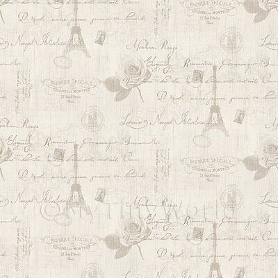 Dolls House Miniature Light Grey Vintage French Themed Wallpaper