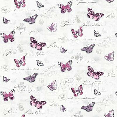 Dolls House Miniature Butterflys On White Wallpaper
