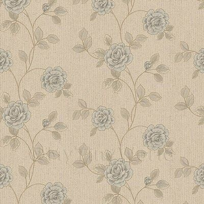 Dolls House Miniature Powder Blue Climbing Rose Wallpaper