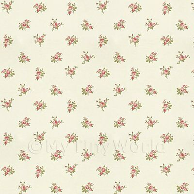Dolls House Miniature Dark Pink Rose Posie Wallpaper