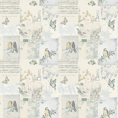 Dolls House Miniature Pale Blue Birds And Butterfly Wallpaper