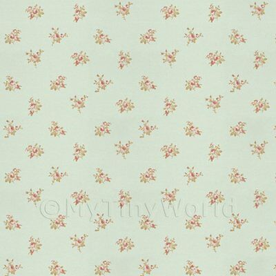 Dolls House Miniature Pink Rose Posie On Pale Blue Wallpaper
