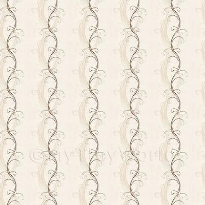 Dolls House Miniature Pale Brown Elegant Swirls Wallpaper