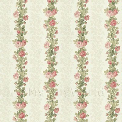 Dolls House Miniature Pink Climbing Rose Stripe Wallpaper