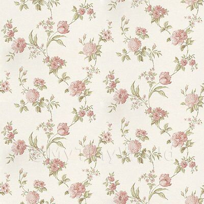 Dolls House Miniature Mixed Pink Flowers On Pale White Wallpaper