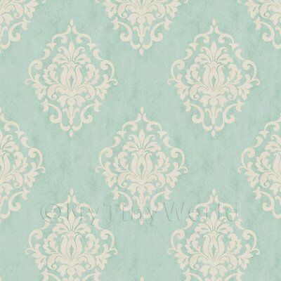 Dolls House Miniature Duck Egg Blue Floral Diamond Wallpaper
