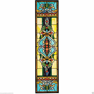 Tiffany Style Gold & Cobalt Stained Glass Window Sunny Colorful Glass Art New