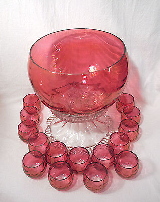 Vintage West Virginia Glass Cranberry Flash Punch Bowl + 15 Cups Rose Loop Optic