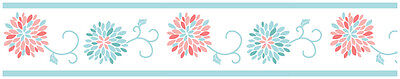 Girls Turquoise Coral Flower Baby Kids Wall Paper Border Room Decor Wallcovering