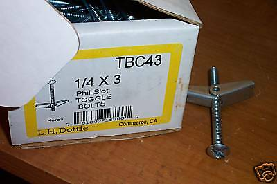 NIB DOTTIE TBC43 PHIL-SLOT 1/4X3 TOGGLE BOLTS MUSHROOM ~ 32 ct