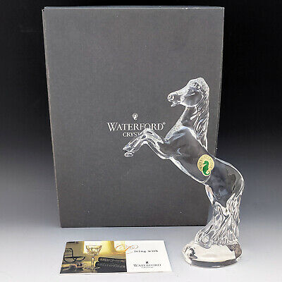 """Waterford Crystal 7"""" Rearing HORSE Figurine Made in Ireland with Box He's Mint"""
