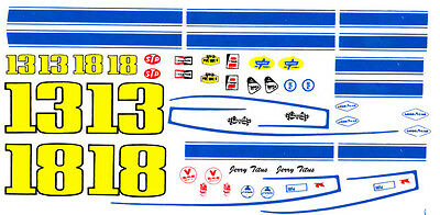 #13 Jerry Titus 1969 Firebird 1/64th HO Scale Slot Car WATERSLIDE DECALS