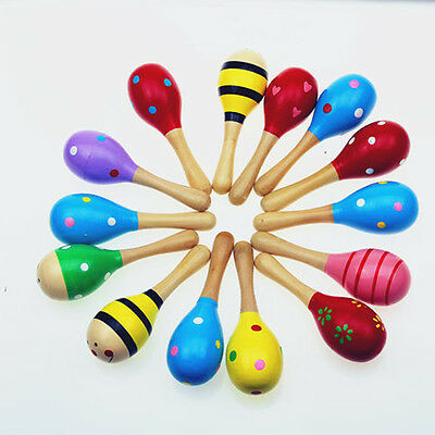 Colorful Wooden Maraca Kid Kids Child Musical Instrument Rattle Shaker Party Toy
