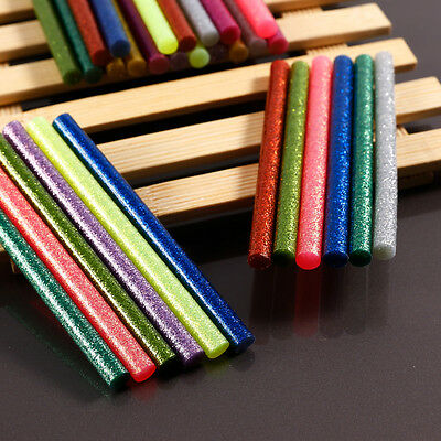 30 Pcs 7mm Dia Colorful Glitter Hot Melt Glue Stick Adhesive 100mm Length