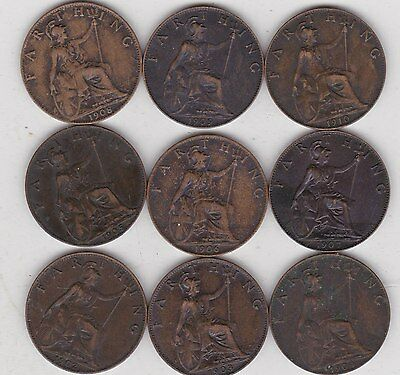9 Edward Vii Farthings 1902 To 1910 In Near Very Fine Or Better Condition