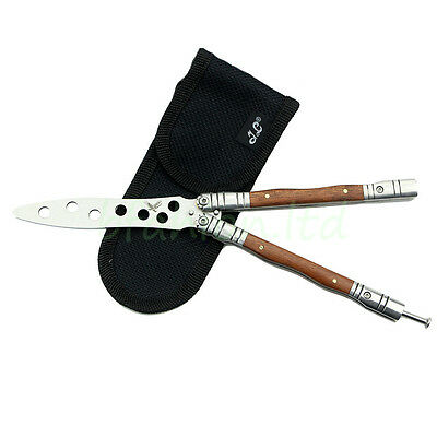 Wooden Handle Practice Balisong Butterfly Trainer Training Tool Kit With Sheath