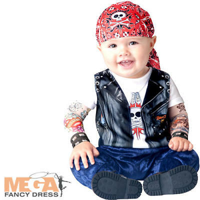 Biker Baby 6-24 Months Fancy Dress Boys Toddler Infant Childs Costume Outfit New