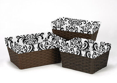 Black & White Damask Organizer Storage Basket Liners Fit Small Medium Large Bin