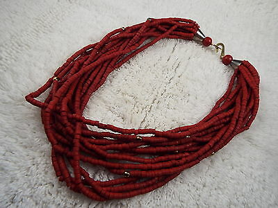 Multi Strand Red Heishi Steer Bone Bead Necklace (B27)