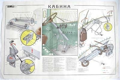 Soviet Military Truck Zil-130 Cabin Color Poster