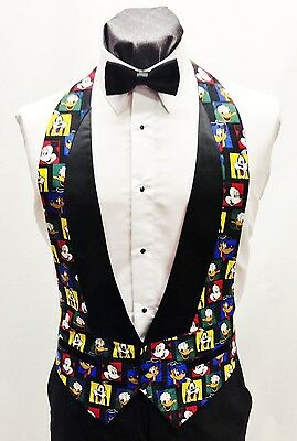 9ed982e3f341 Men's Small Looney Tunes Lowcut Tuxedo Tux Vest & BowTie Mickey Goofy Daffy  Duck