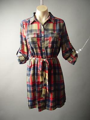 Plaid Pattern Classic Americana Sash Tie Waist Button-Up Shirt 182 mv Dress S M