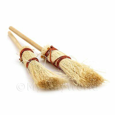 2x Dolls House Miniature Household Brooms