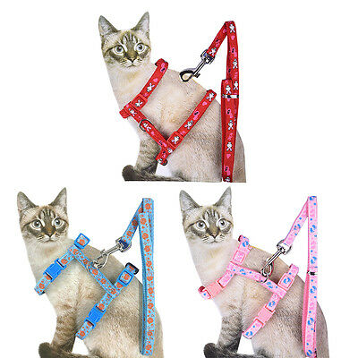 Nylon Pet Dog Cat Kitten Adjustable Harness Lead Leash Collar Belt Safety Rope