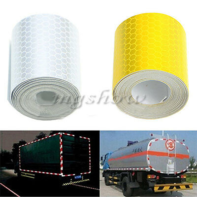 Yellow White 3M Warning Reflective Safety Tape Adhesive Sticker For Trucks Car