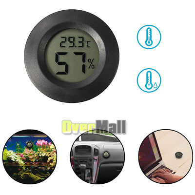 Digital Cigar Humidor Hygrometer Thermometer Temperature Round Black New US SHIP