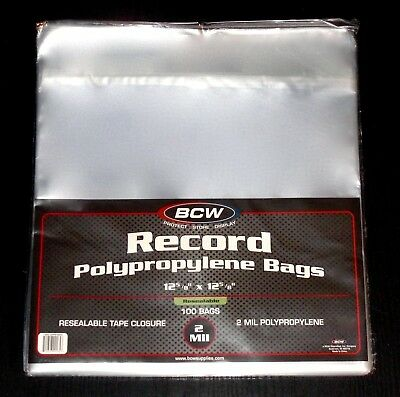 """100 RESEALABLE LP OUTER SLEEVES *High-Quality Ultra-Clear 12"""" Vinyl Album Covers"""