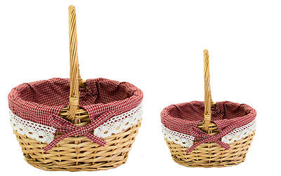 Mini Wicker Shopping Basket Shopper Storage Display with Cotton Lining Set Of 2
