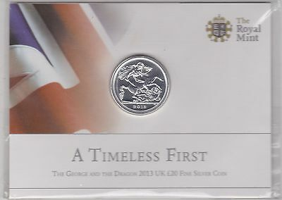 Sealed 2013 Silver £20 Coin A Timeless First Mint Flat Pack