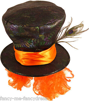 Mens Ladies Mad Hatter Alice in Wonderland Fancy Dress Party Costume Outfit Hat