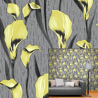 Crown Cala Lily Lime Green Black Grey Glitter Metallic Feature Wallpaper