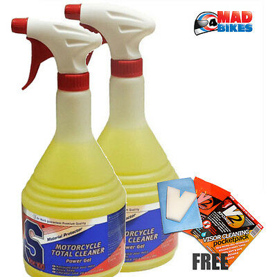 SDOC100 Motorcycle Motorbike Power Gel Total Cleaner x2 + Free V2 Visor Cleaner