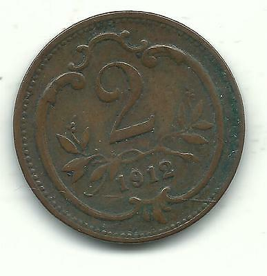 A Very Nicely Detailed Higher Grade 1912 Austria 2 Heller Coin-Dec177