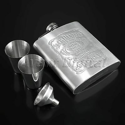 Portable Flagon 7oz Set Engraved PERSONALIZED Stainless Steel HIP FLASK + Cup