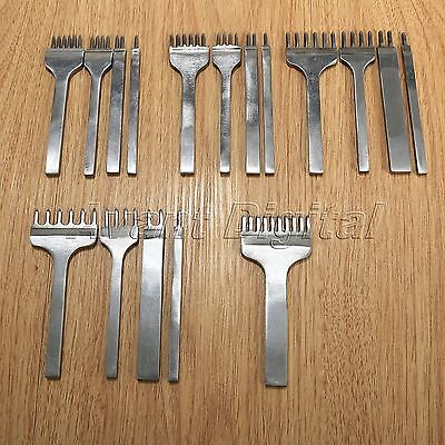 Leather Craft Hole Punches Stitching Punch Tool Set 3/4/5/6mm 1+2+4+6 10 Prong
