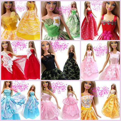 5 pcs/lot Princess Wedding Dress Party Gown Clothes Outfits For Barbie Doll CHT