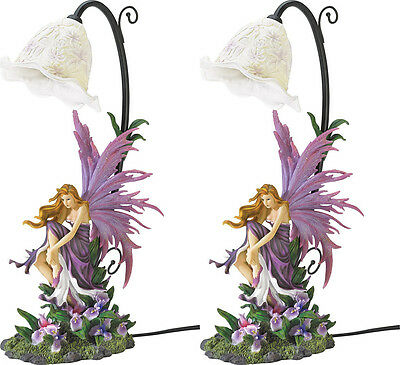 2 Violet Purple Winged Fairy Sitting On Bed Of Orchid Blooms Table Bedside Lamps