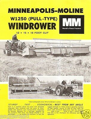 Farm Implement Brochure - Minneapolis-Moline - W1250 - Windrower - 1965 (FB372)