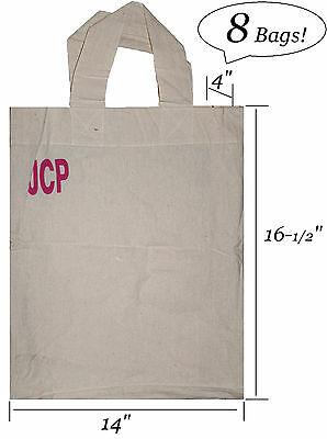 8 x Reusable Grocery Bag Shopping Canvas Tote Durable Fabric Heavy Duty Bags NEW